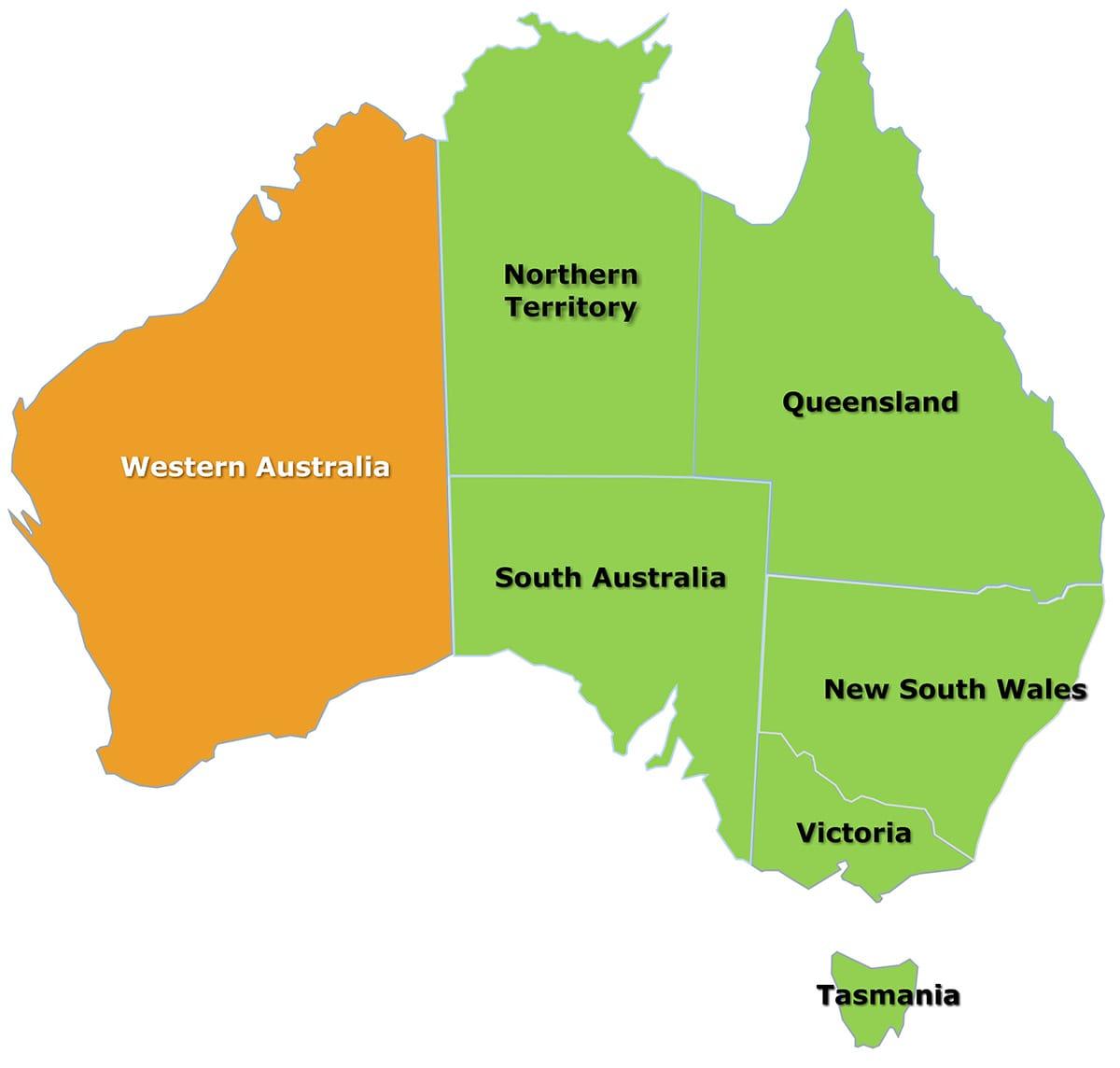 Western Australia Citrus Australia - Map of western australia